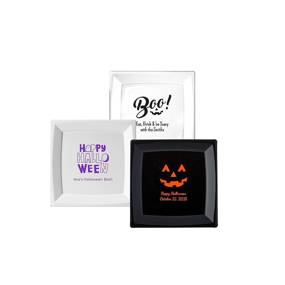 Nav Item for Personalized Halloween Premium Plastic Square Appetizer Plates Image #1