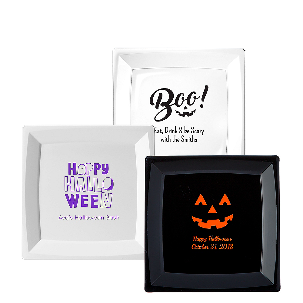 Personalized Halloween Premium Plastic Square Dinner Plates Image #1
