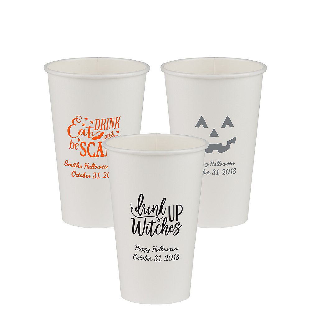 Personalized Halloween Paper Cups 16oz Image #1