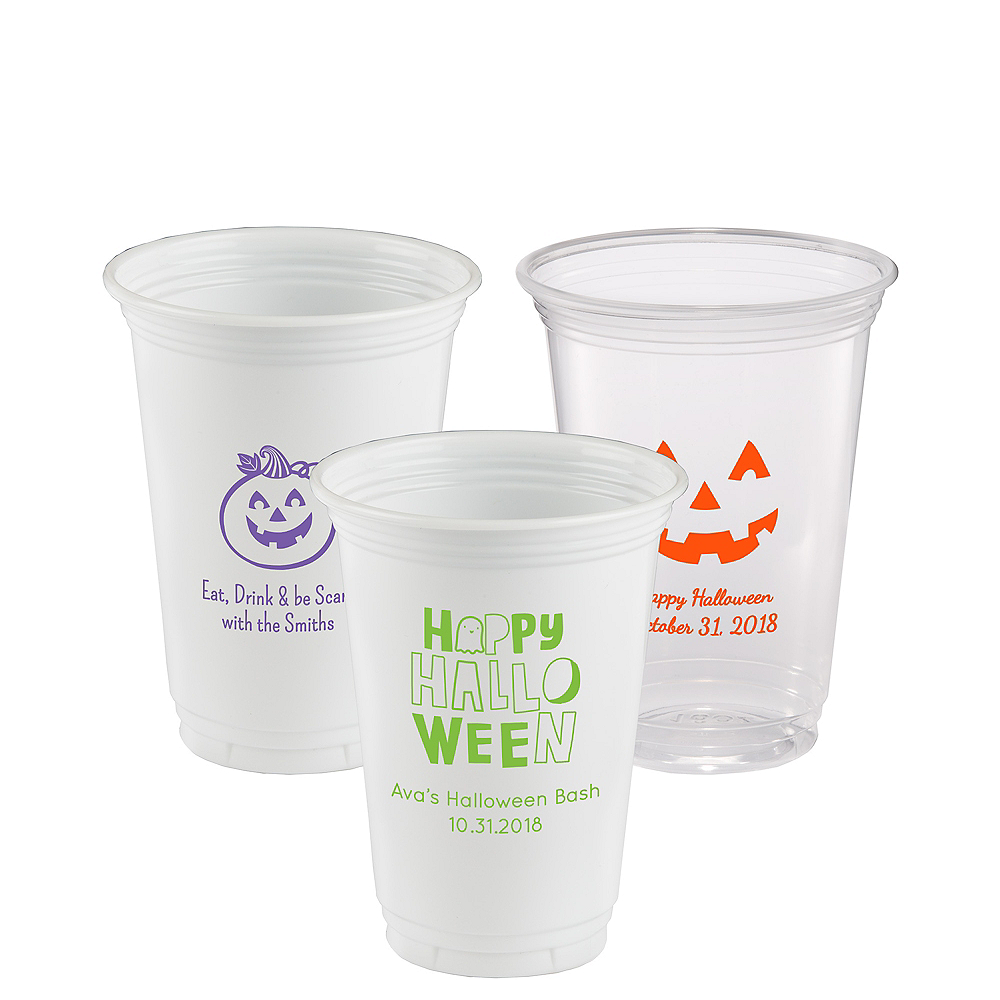 Personalized Halloween Plastic Party Cups 16oz Image #1