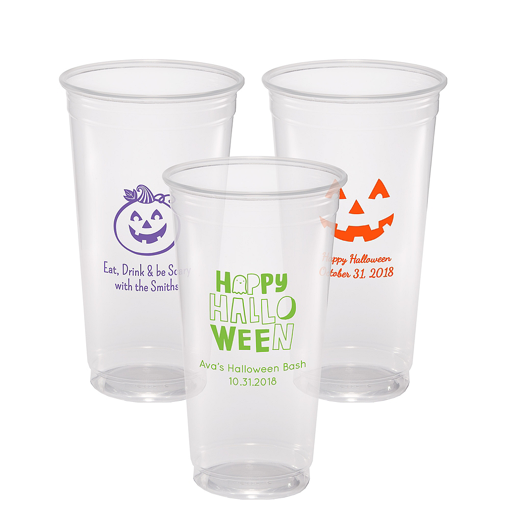 Personalized Halloween Plastic Party Cups 24oz Image #1