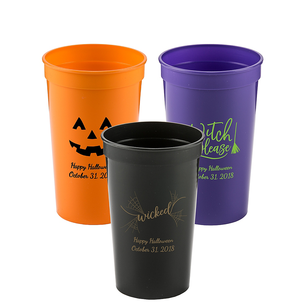 Personalized Halloween Plastic Stadium Cups 22oz Image #1