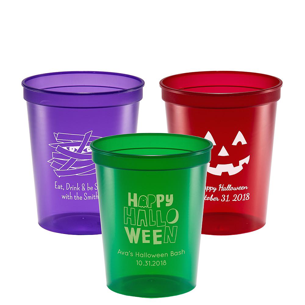 Personalized Halloween Translucent Plastic Stadium Cups 16oz Image #1