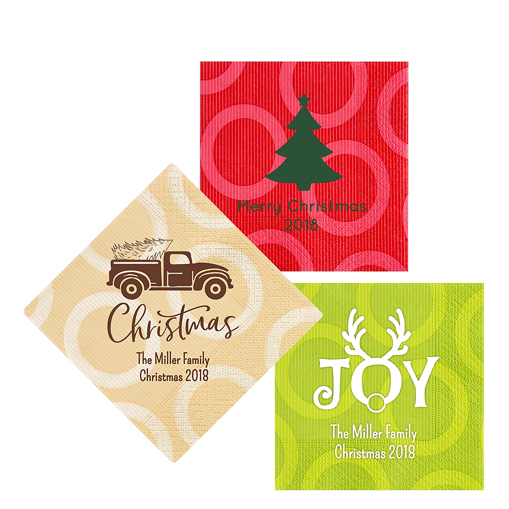 Personalized Christmas Circles Lunch Napkins Image #1
