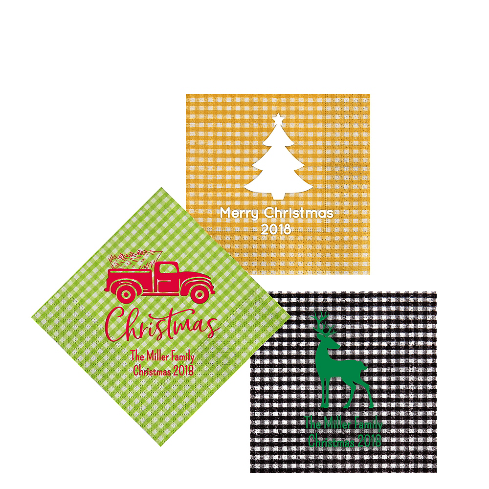 Nav Item for Personalized Christmas Gingham Beverage Napkins Image #1