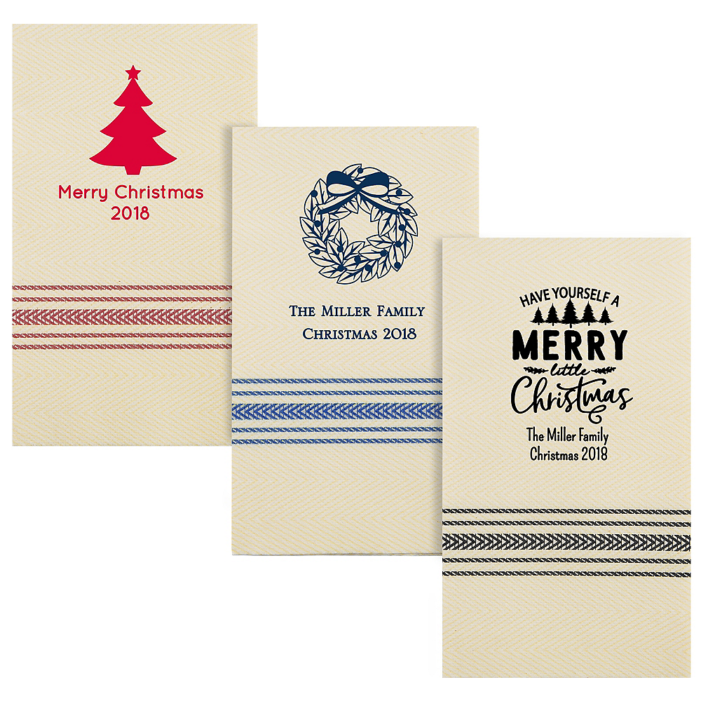 Personalized Christmas Herringbone Guest Towels Image #1