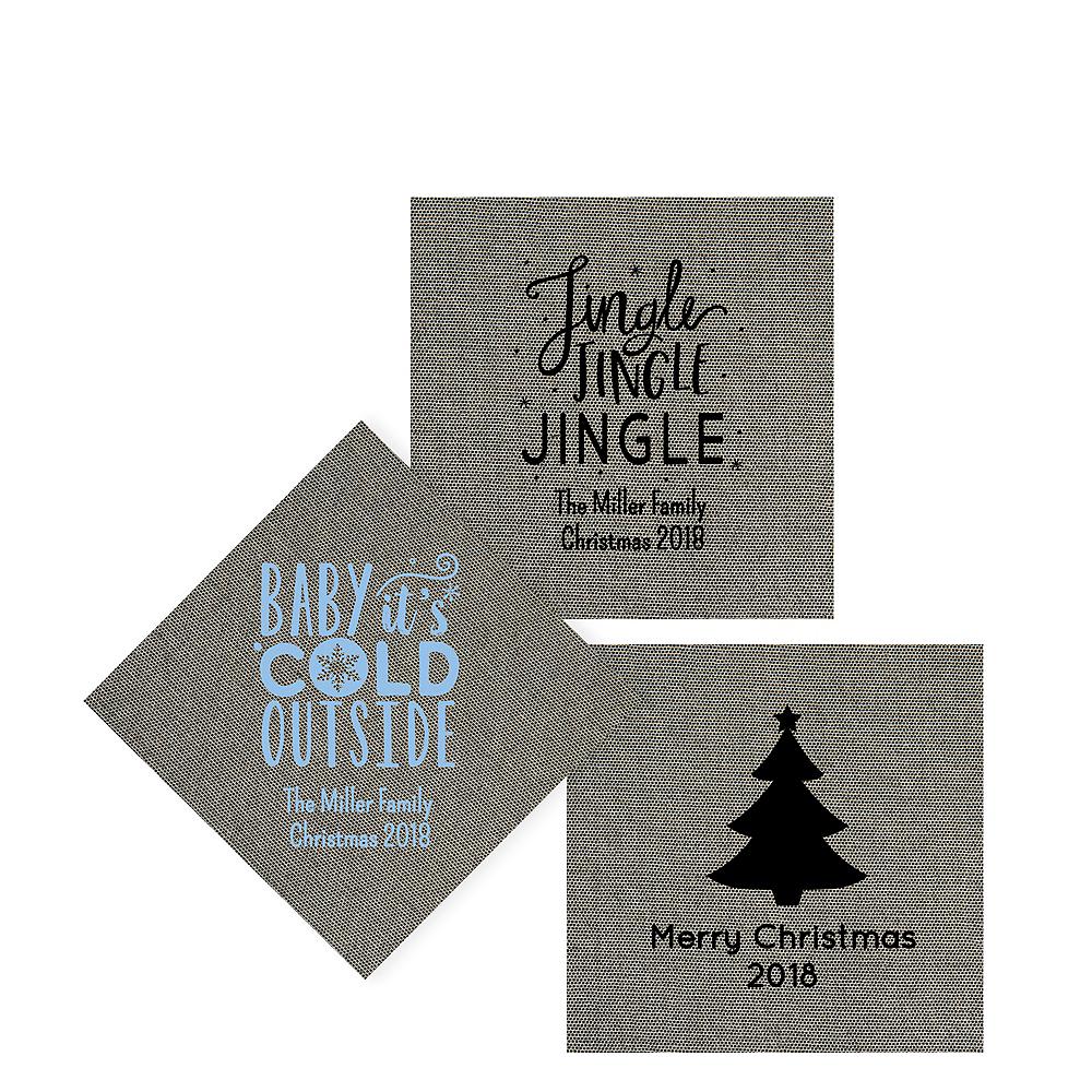 Personalized Christmas Tweed Print Beverage Napkins Image #1