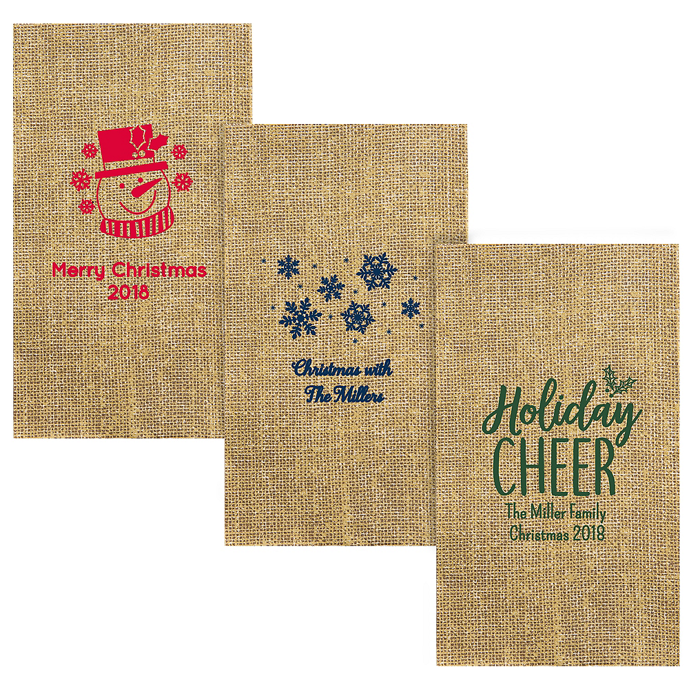 Personalized Christmas Burlap Print Guest Towels Image #1