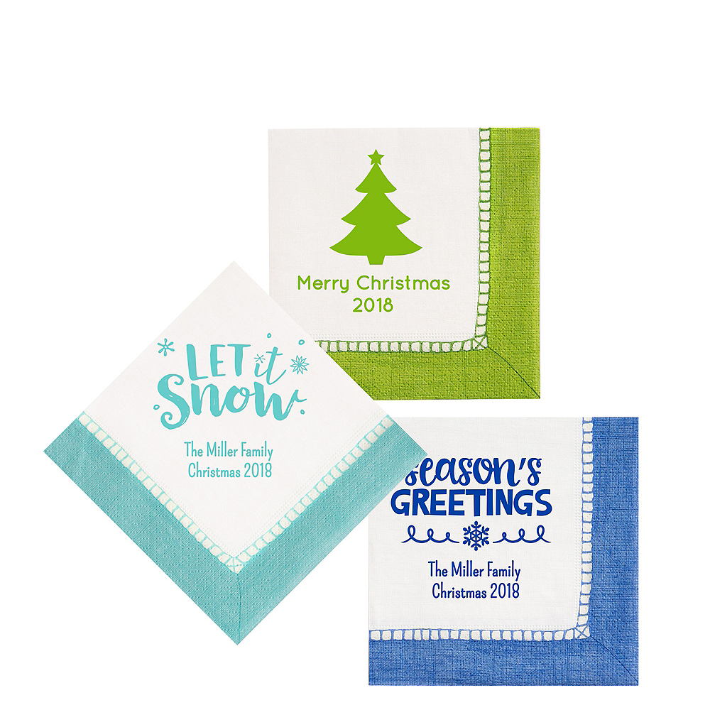 Personalized Christmas Bordered Beverage Napkins Image #1