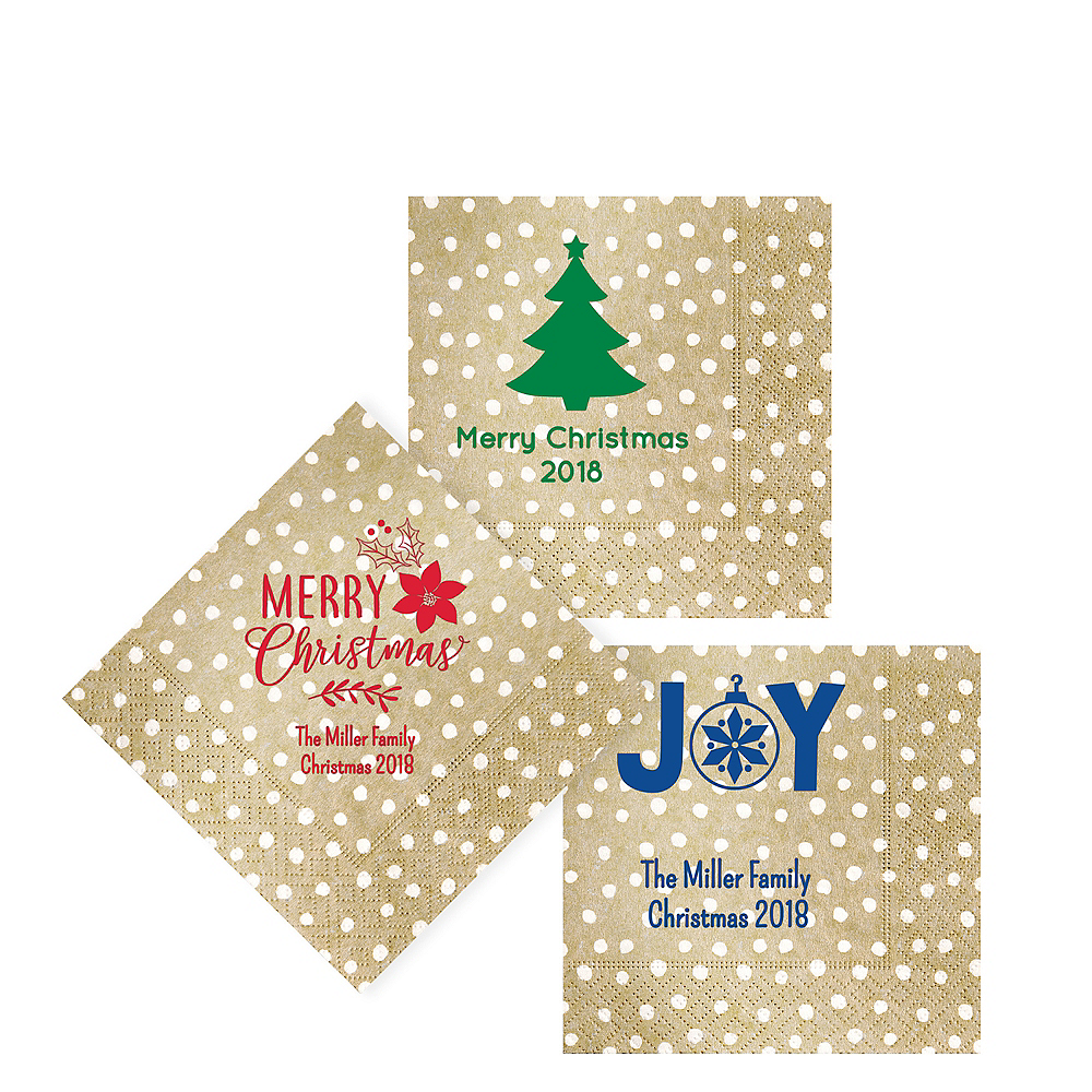 Personalized Christmas Small Dots Beverage Napkins Image #1