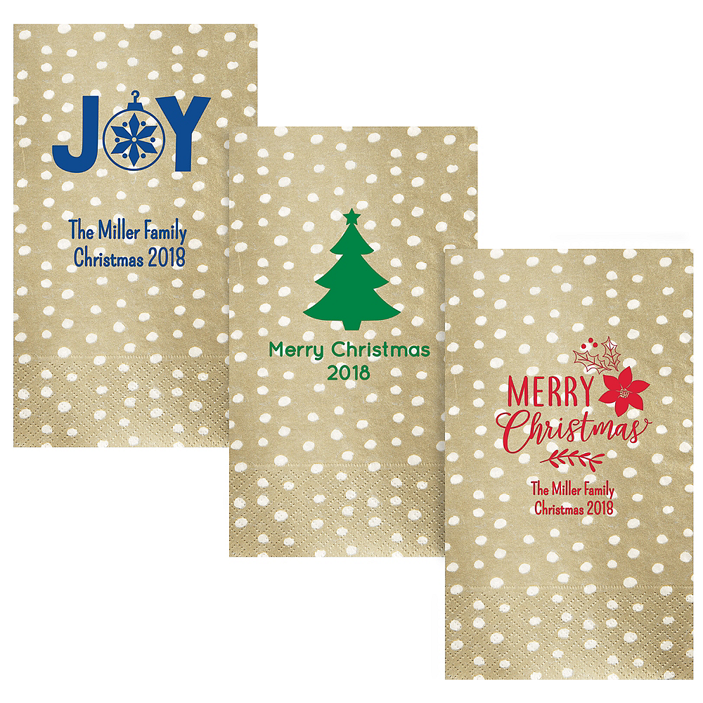 Personalized Christmas Small Dots Guest Towels Image #1