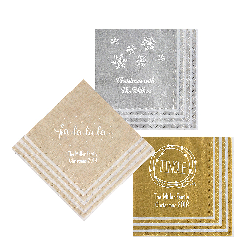 Personalized Christmas Stripe Border Lunch Napkins Image #1
