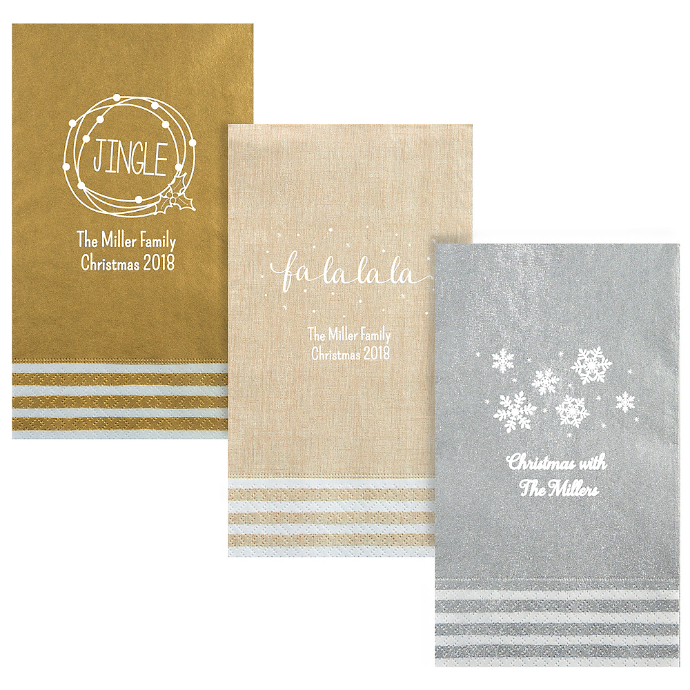 Personalized Christmas Stripe Border Guest Towels Image #1