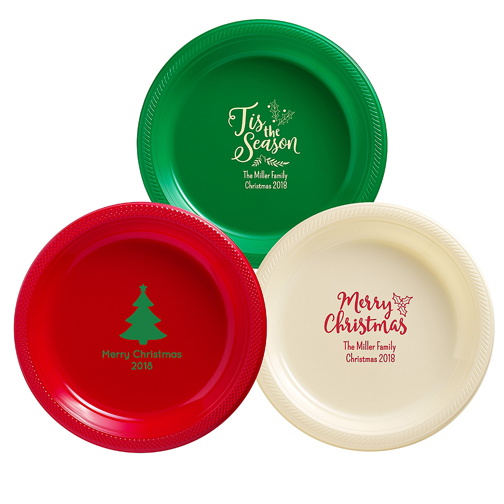 Personalized Christmas Plastic Dinner Plates Image #1