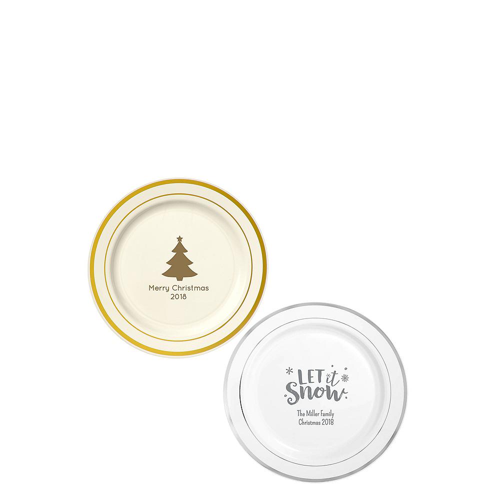 Personalized Christmas Trimmed Premium Plastic Dessert Plates Image #1