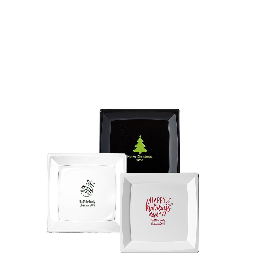 Personalized Christmas Premium Plastic Square Appetizer Plates Image #1
