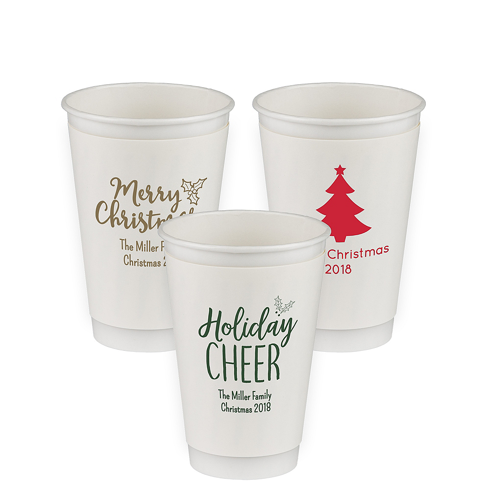 Personalized Christmas Insulated Paper Cups 16oz Party City