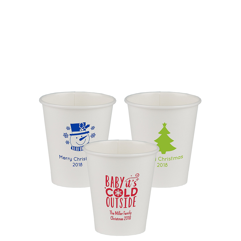 Personalized Christmas Paper Cups 8oz Image #1
