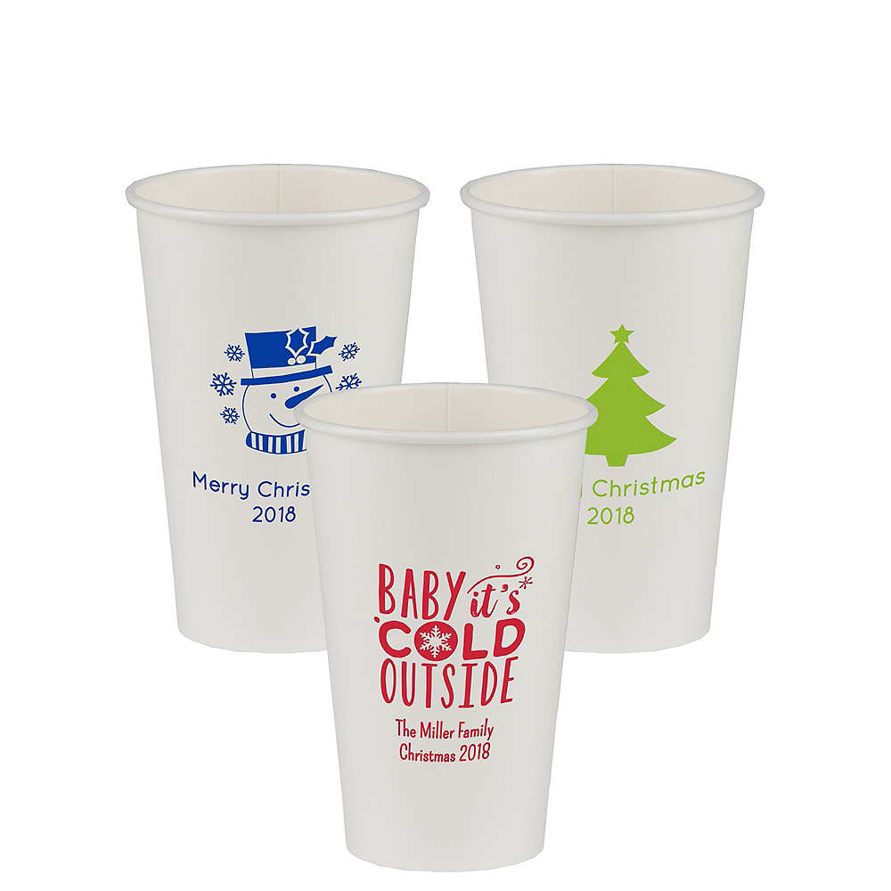 Personalized Christmas Paper Cups 16oz Image #1