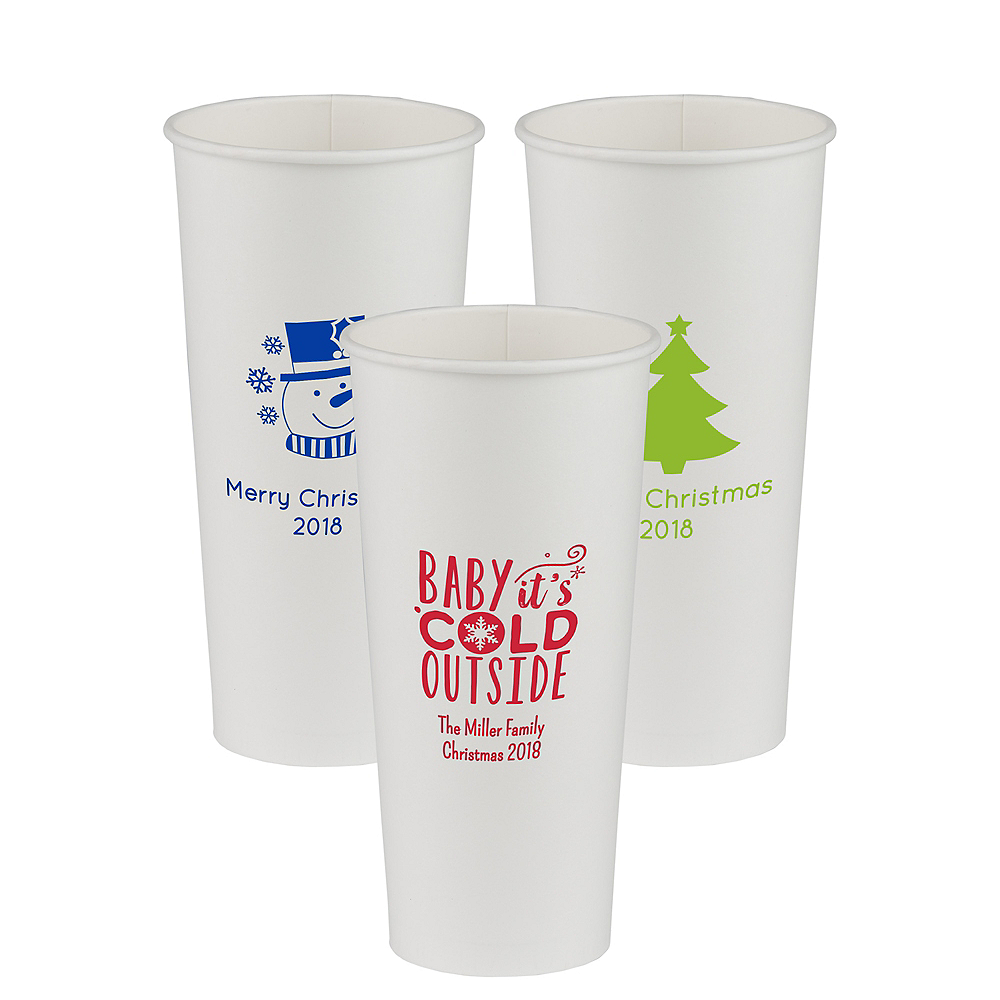 Personalized Christmas Paper Cups 24oz Image #1