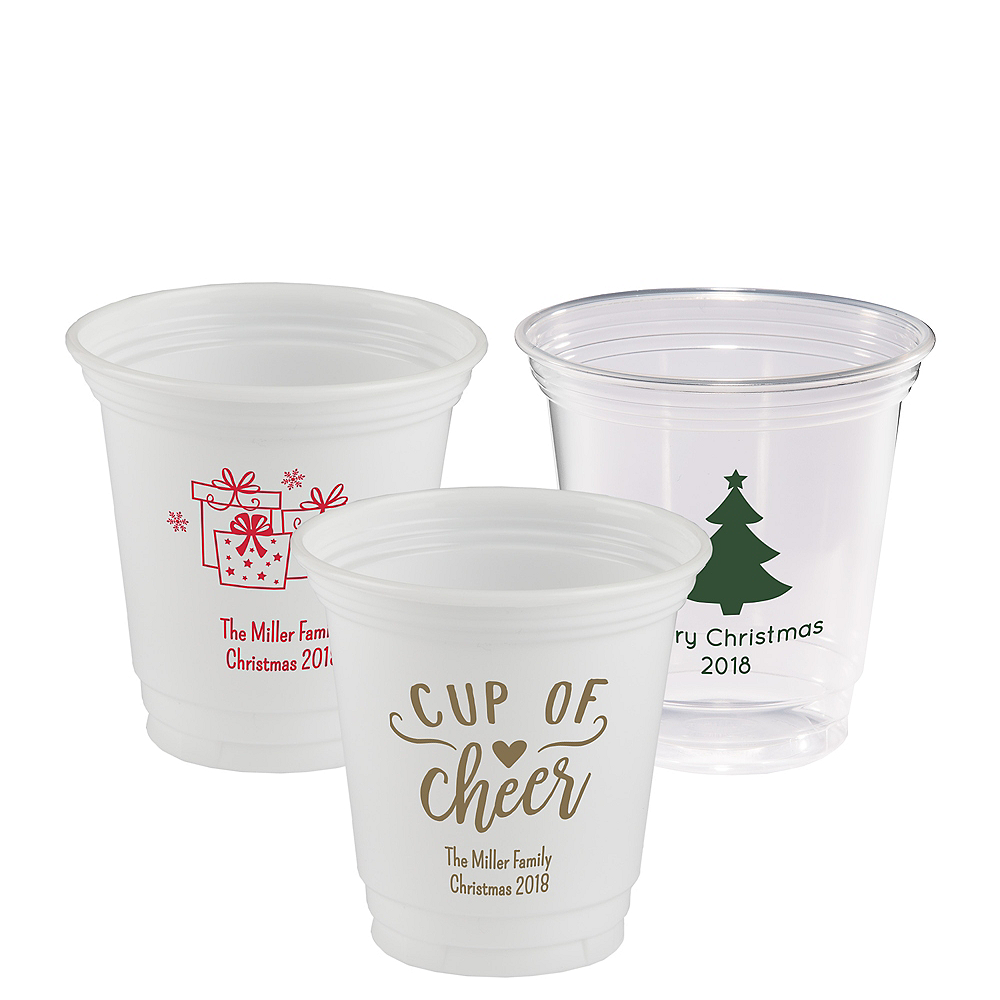Personalized Christmas Plastic Party Cups 12oz Image #1