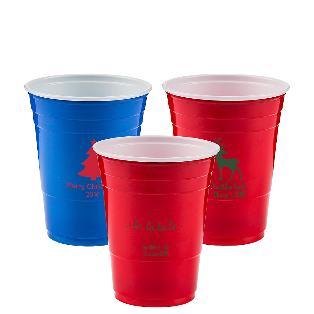 Personalized Christmas Solid-Color Plastic Party Cups 16oz Image #1