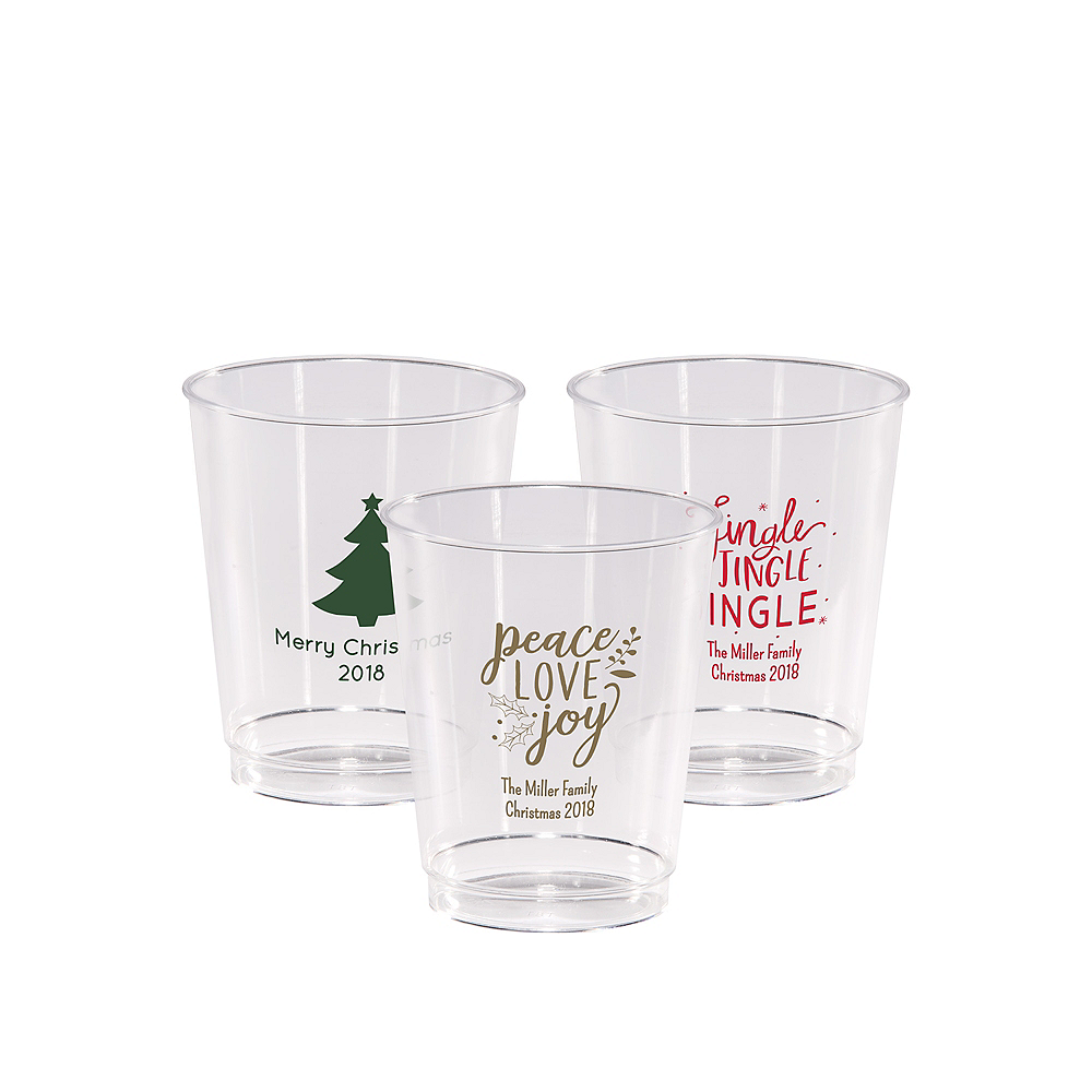 Personalized Christmas Hard Plastic Cups 8oz Image #1
