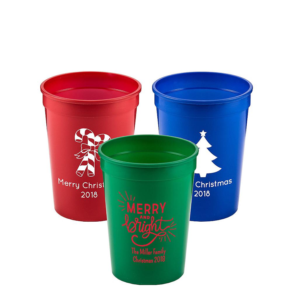 Personalized Christmas Plastic Stadium Cups 12oz Image #1