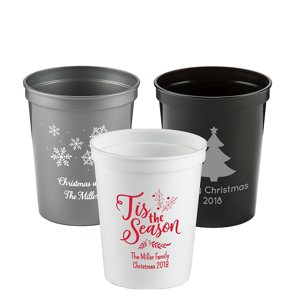 167661910ff Personalized Christmas Plastic Stadium Cups 16oz | Party City