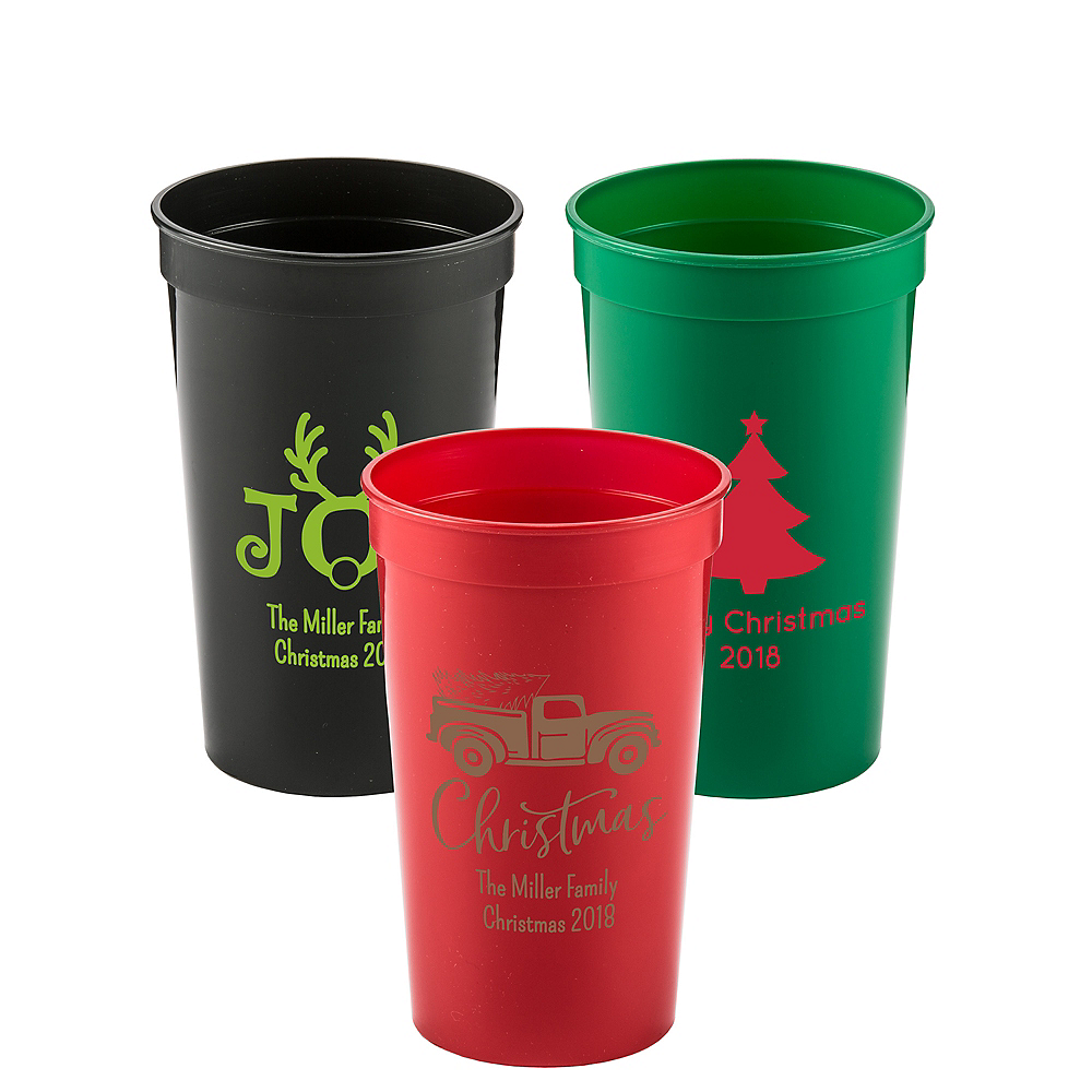 Personalized Christmas Plastic Stadium Cups 22oz Image #1