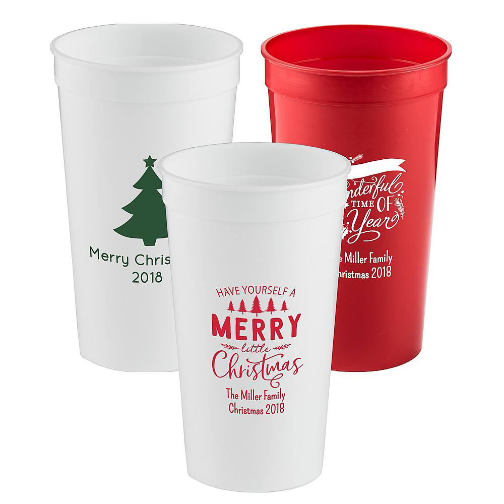 Personalized Christmas Plastic Stadium Cups 32oz Image #1