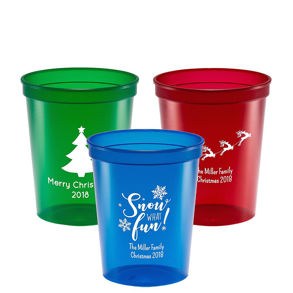 Personalized Christmas Translucent Plastic Stadium Cups 16oz Image #1
