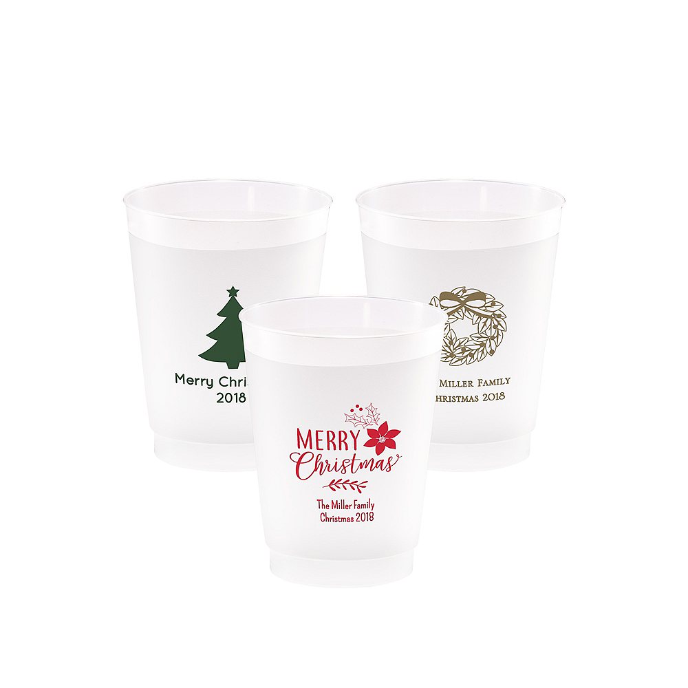 Personalized Christmas Frosted Plastic Shatterproof Cups 10oz Image #1