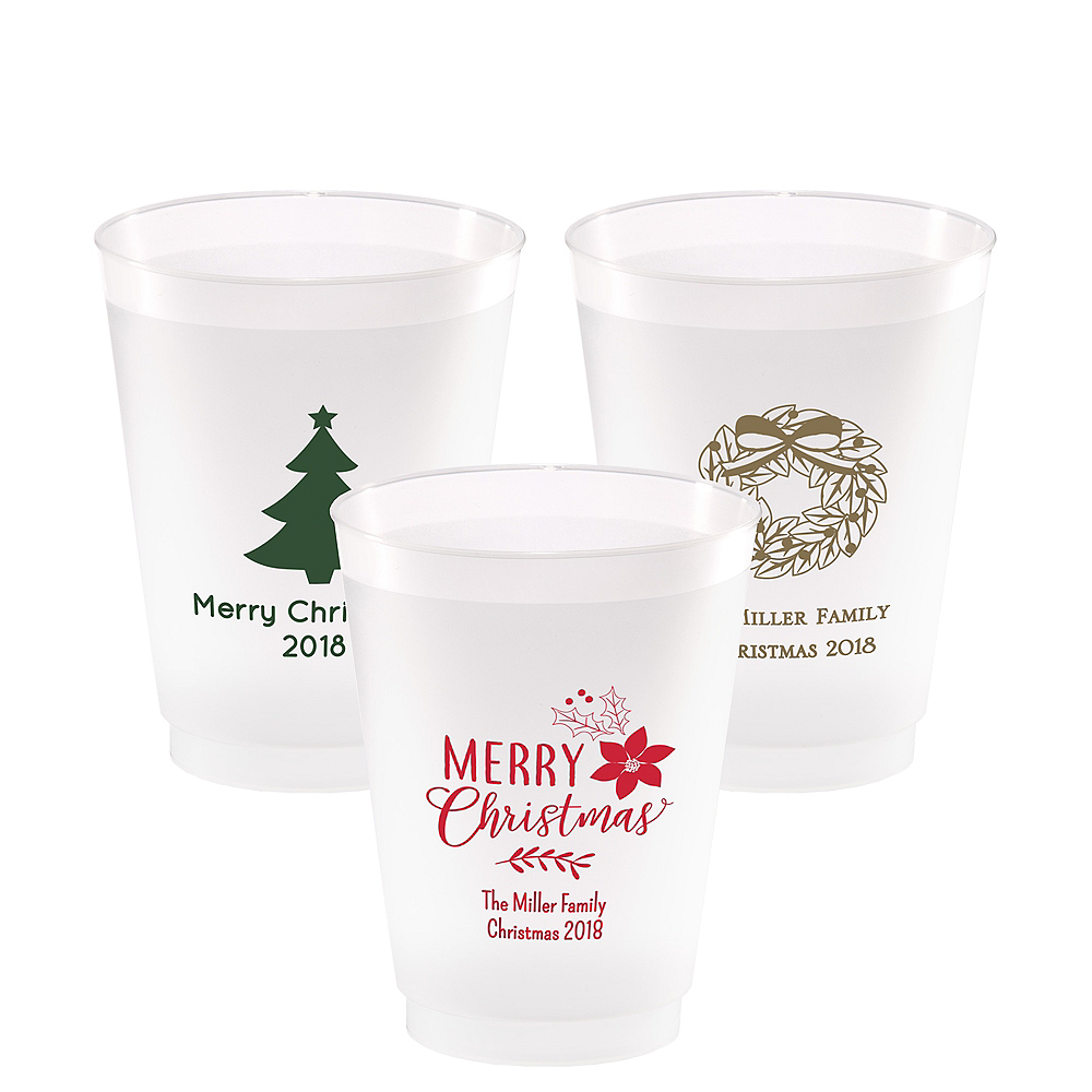 Personalized Christmas Frosted Plastic Shatterproof Cups 16oz Image #1