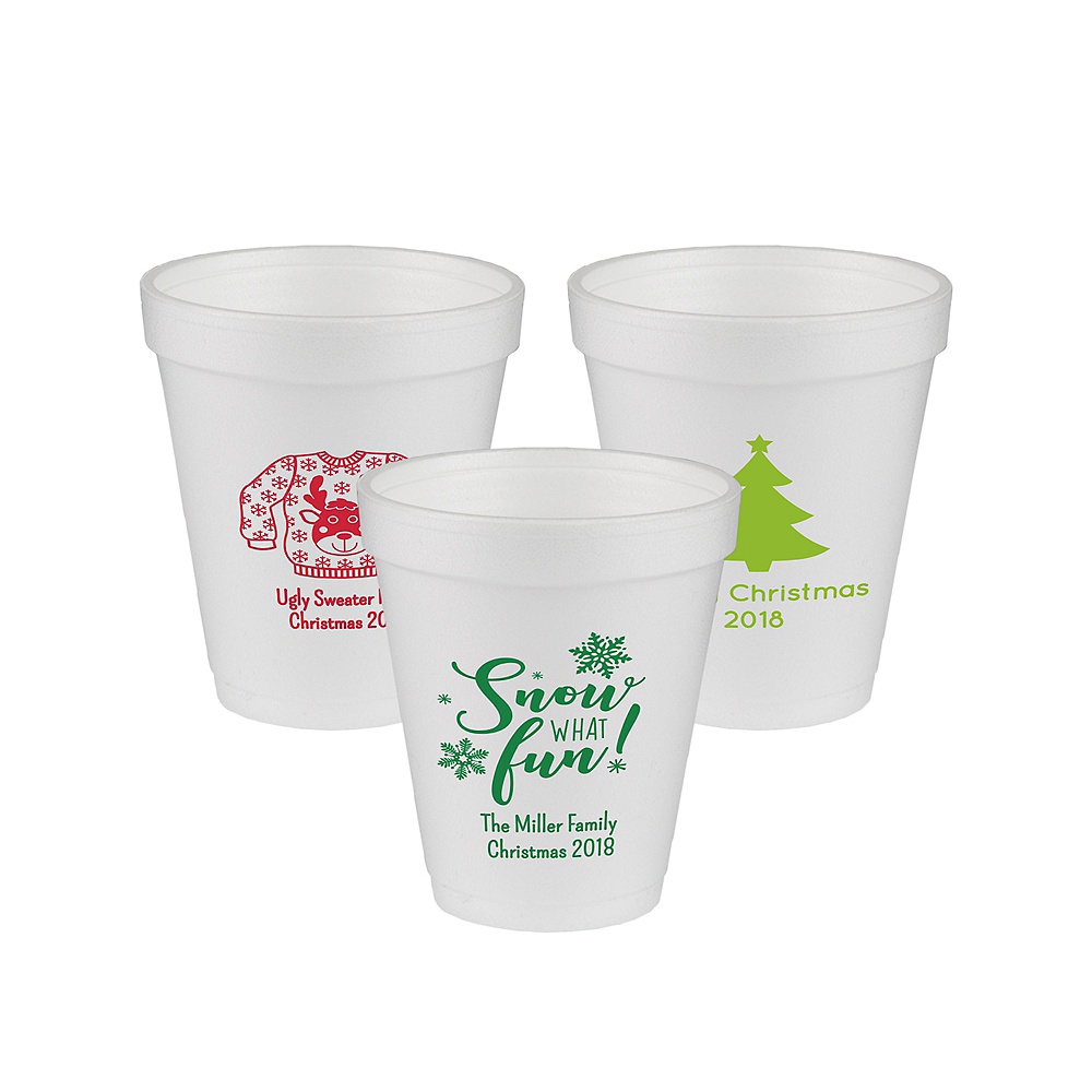 Personalized Christmas Foam Cups 8oz Image #1
