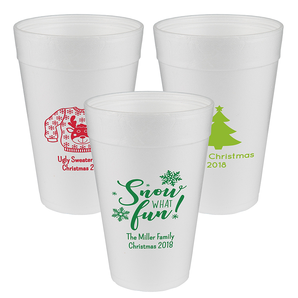 Personalized Christmas Foam Cups 32oz Image #1