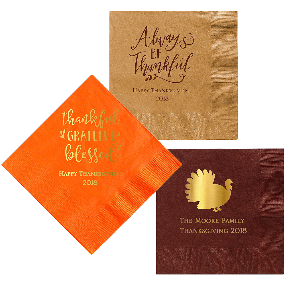 Personalized Thanksgiving Dinner Napkins Image #1