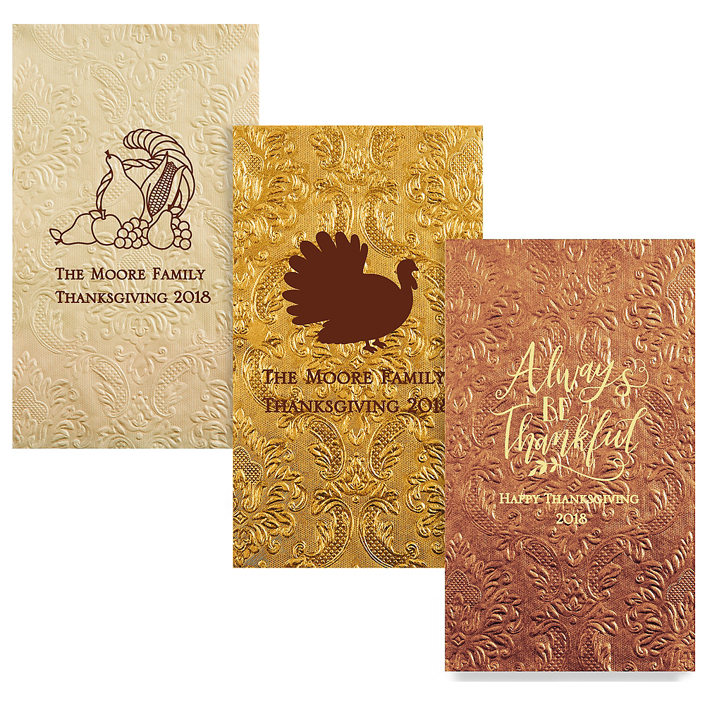 Personalized Thanksgiving Embossed Damask Guest Towels Image #1