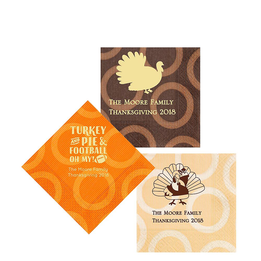 Personalized Thanksgiving Circles Beverage Napkins Image #1