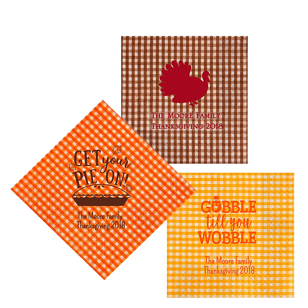 Personalized Thanksgiving Gingham Lunch Napkins Image #1