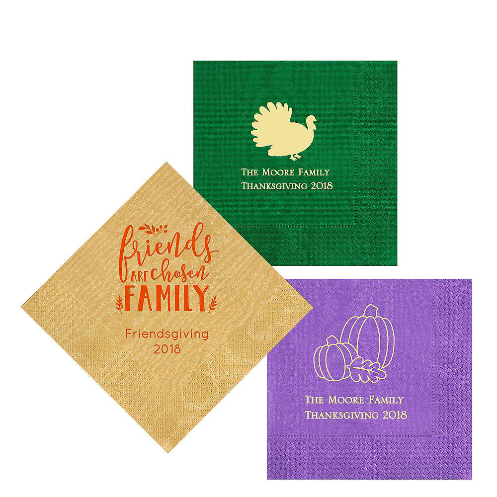 Personalized Thanksgiving Moire Lunch Napkins Image #1