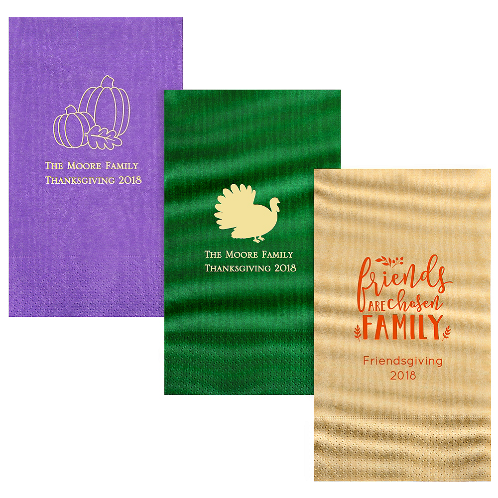 Personalized Thanksgiving Moire Guest Towels Image #1
