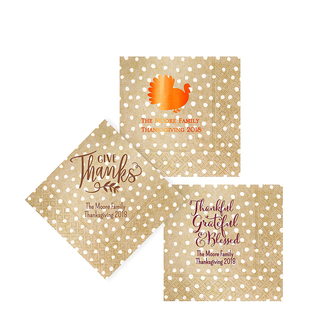 Personalized Thanksgiving Small Dots Beverage Napkins Image #1