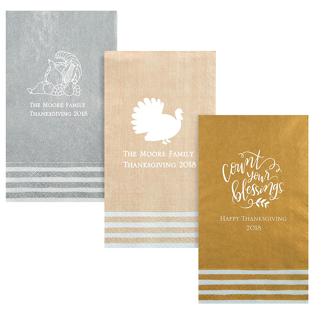 Personalized Thanksgiving Stripe Border Guest Towels Image #1