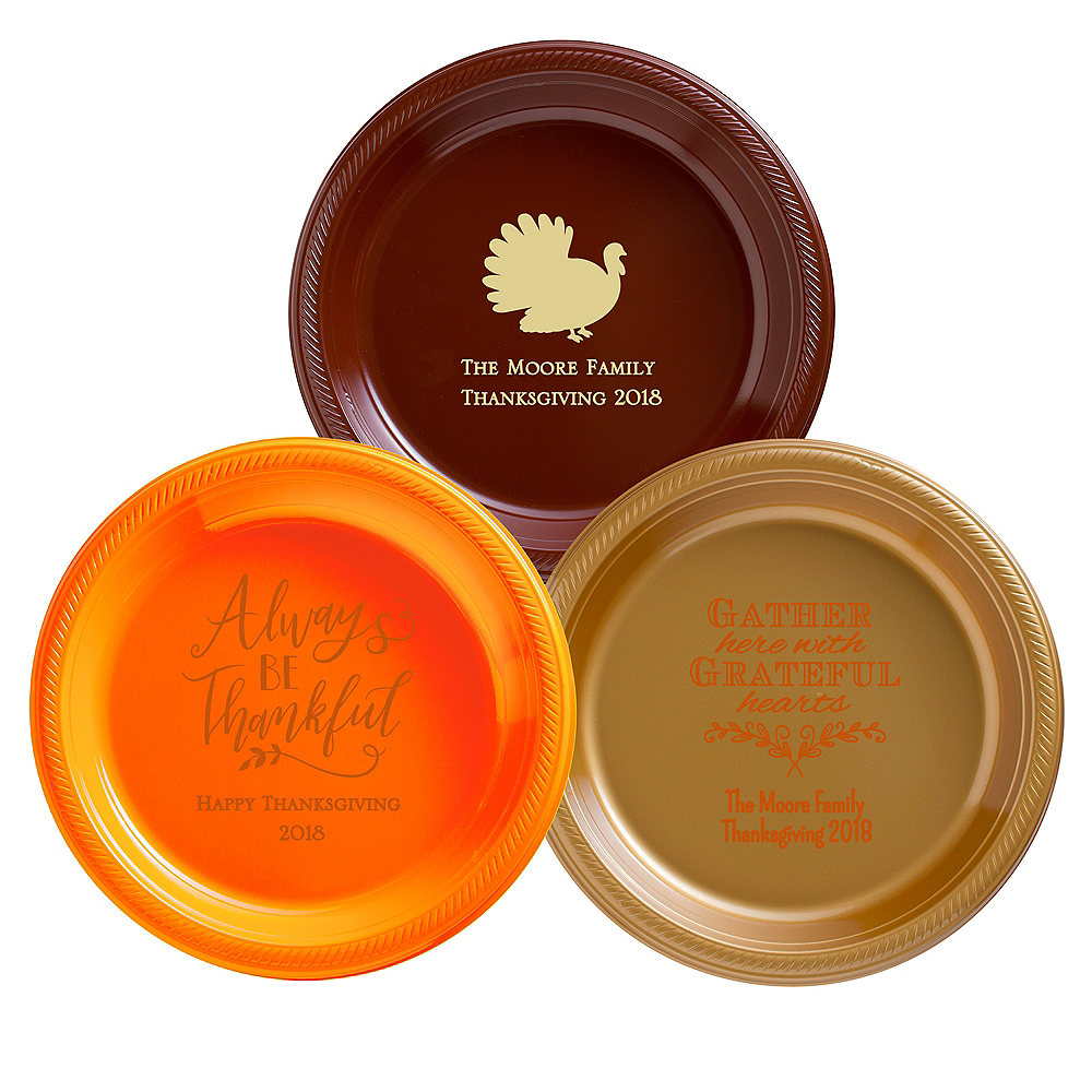 Personalized Thanksgiving Plastic Dinner Plates Image #1