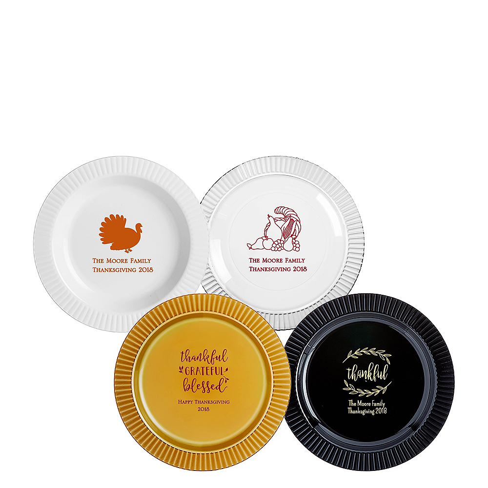 Personalized Thanksgiving Premium Plastic Dessert Plates Image #1