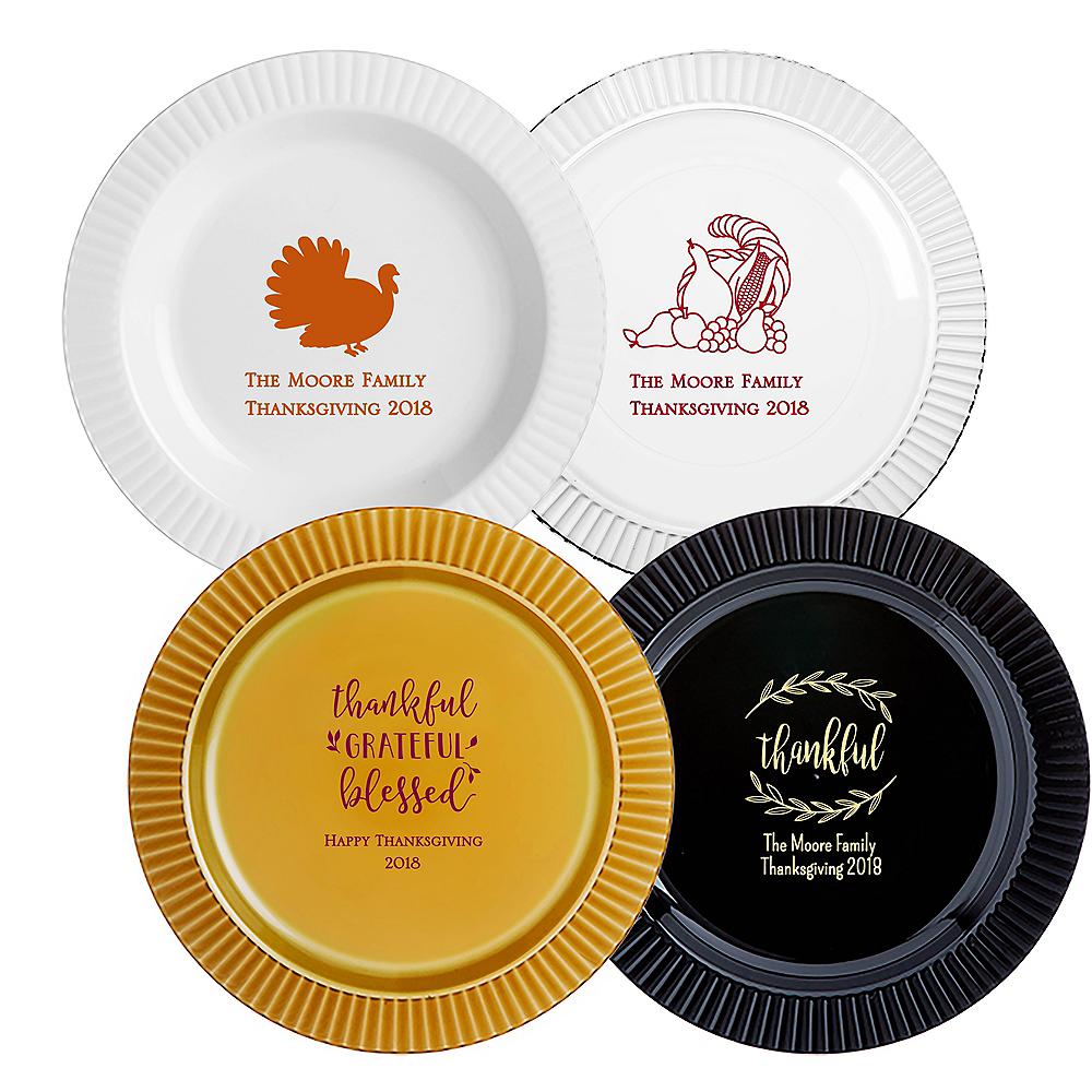 Personalized Thanksgiving Premium Plastic Dinner Plates Image #1