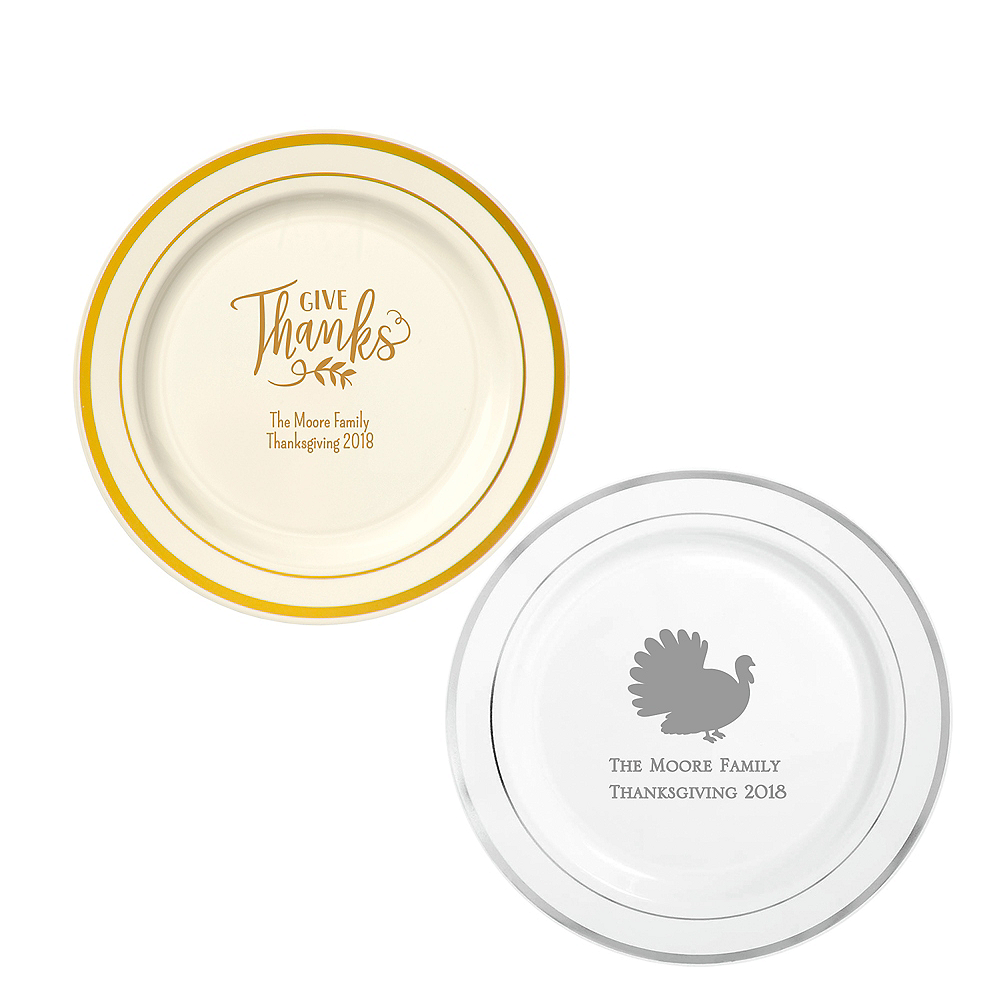 Personalized Thanksgiving Trimmed Premium Plastic Dinner Plates Image #1