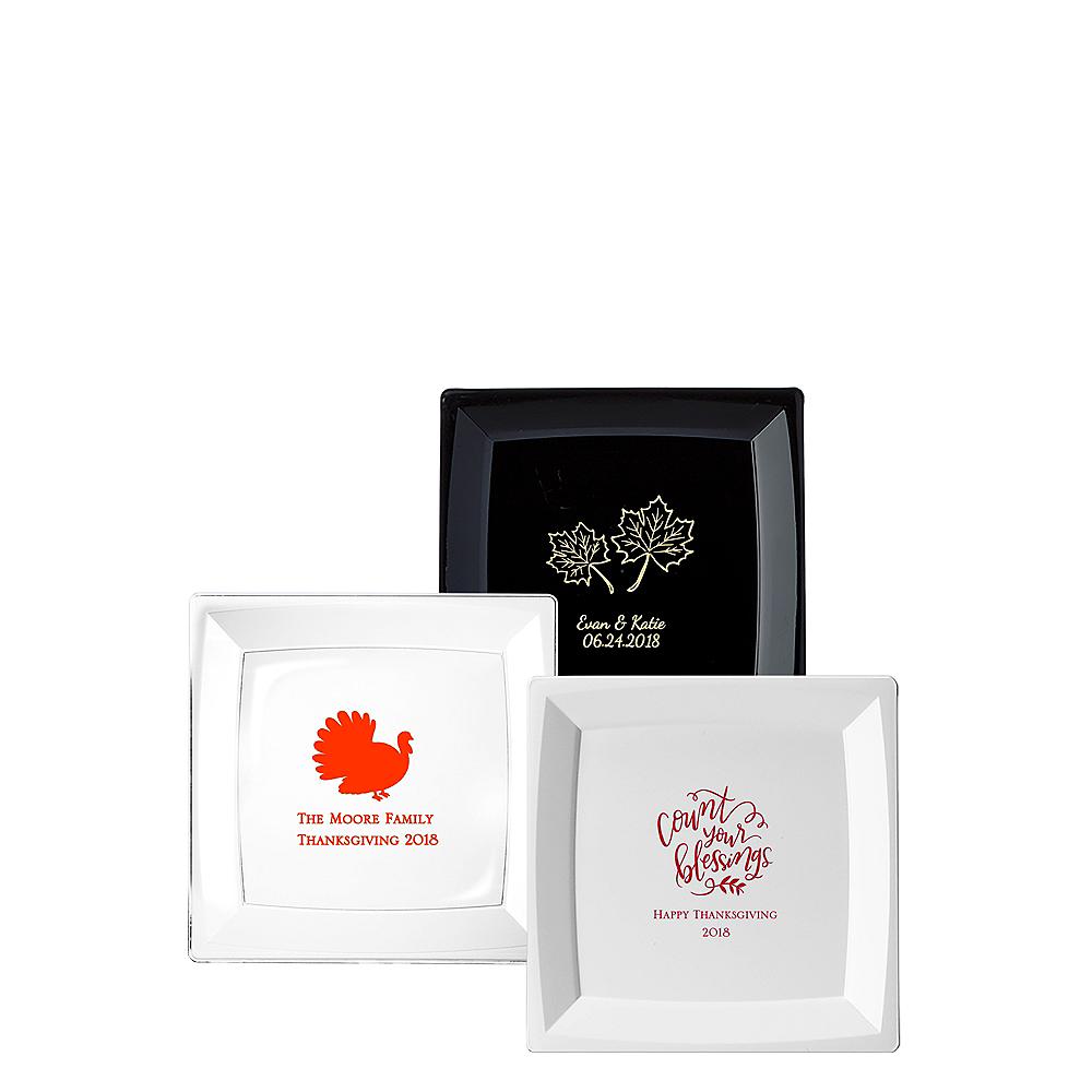 Personalized Thanksgiving Premium Plastic Square Dessert Plates Image #1