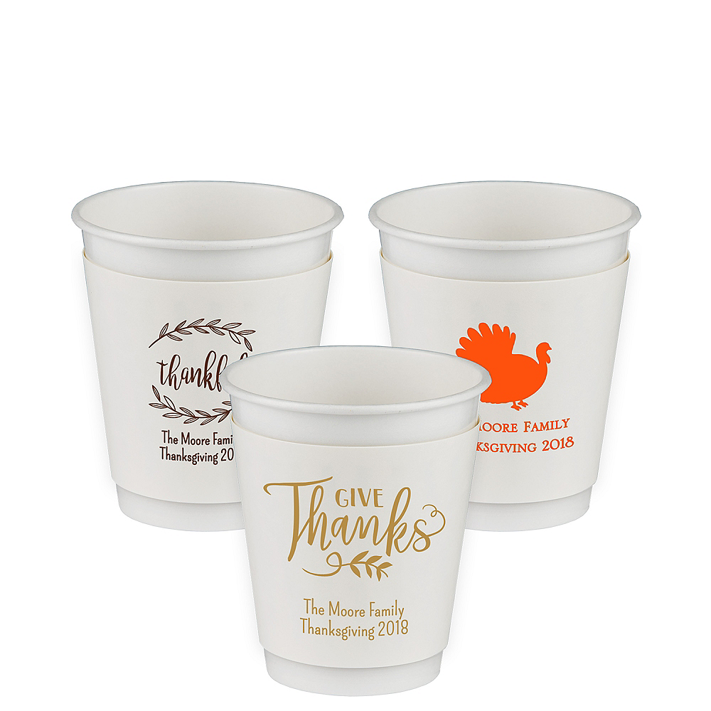 Personalized Thanksgiving Insulated Paper Cups 12oz Party City